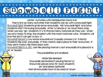 Snowball Fight!  Workstation Activities for Multiplication Facts 0-10
