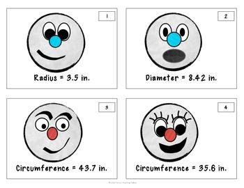 Snowball Measurement Task Cards: Radius, Diameter, Circumference, Area