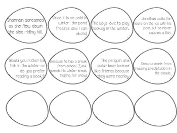 Snowball Sentence Sort- winter themed