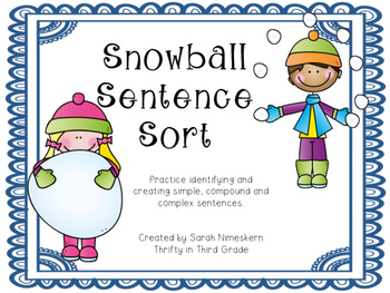 Snowball Sentence Sort- winter themed