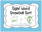 Snowball Sight Word Sort