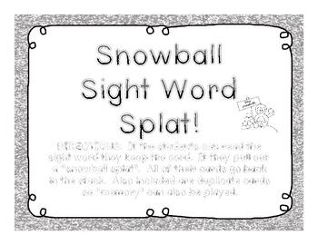 Snowball Sight Word Splat