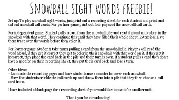 Snowball Sight Words