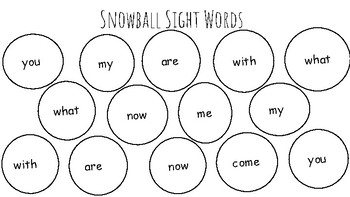 Snowball Sight Words
