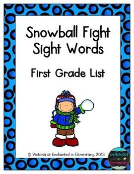 Snowball Fight Sight Words! First Grade List Pack