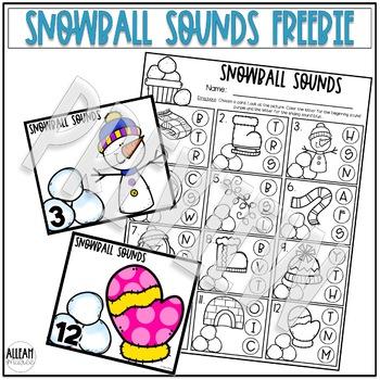Snowball Sounds Freebie: A Beginning and Ending Sounds Activity