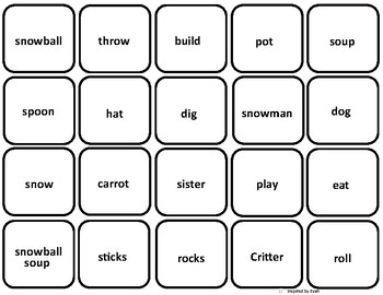"""""""Snowball Soup"""" Vocabulary Picture Squares for Autism"""