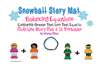 Snowball Story Mat & Printables for Balancing Equations and Comparing Numbers