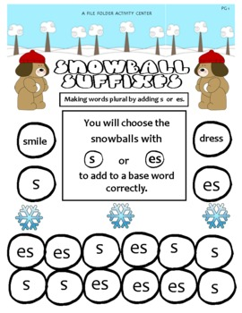 Snowball Suffixes File Folder Activity Center