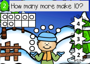 Snowball adding to 10 with a ten frame Power Point Game (Winter theme)