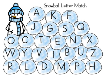 Snowball capital and lower case letter match game