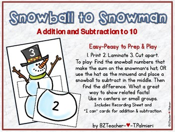 Snowball to Snowman - Addition and Subtraction to 10 for Center or Small Group