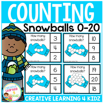 Counting Clip Cards 0-20: Snowballs