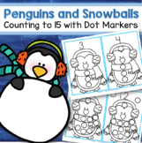 Penguins Counting to 15 Interactive Activity Using Bingo Dot Markers