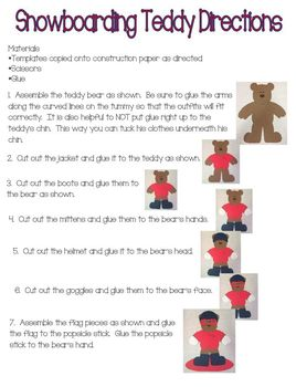 Snowboarding Teddy Bear Dress Up Craft (Olympics)