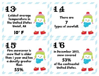 Snowfall Facts Place Value Task Cards