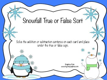 Snowfall True or False Sort (Addition and Subtraction)