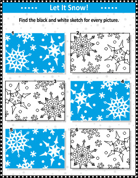 Snowfall Visual Puzzle and Coloring Page, Commercial Use Allowed