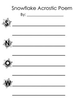 Language, Art- Snowflake Acrostic Poem