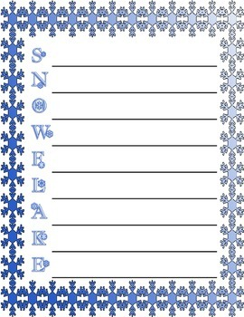 Snowflake Acrostic Poem starter ~ Winter theme poetry