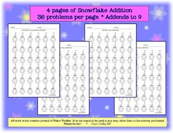 Snowflake Addition * Worksheets * Printable