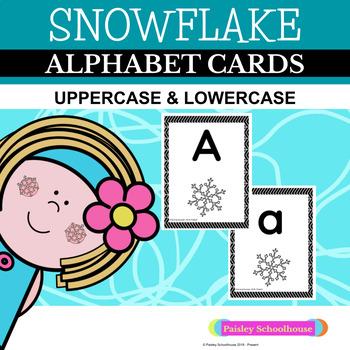 Snowflake Alphabet Cards: Black and White Herringbone Design