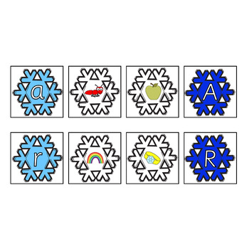 Snowflake Alphabet Picture Match Cards Upper & Lower Case
