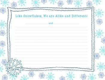 Snowflake Art Project, Non fiction CCCS Writing, Friendship & Community