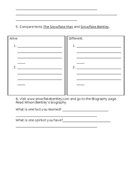 Snowflake Bentley Comprehension Worksheet