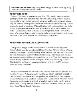 Snowflake Bentley Literature Guide
