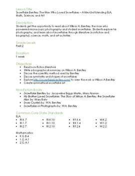 Snowflake Bentley: Mini-Unit Math, ELA, Science, and Art