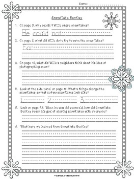Snowflake Bentley: Text-Dependent Questions, Worksheet, and Snowflakes