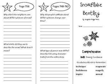 Snowflake Bentley Trifold - Treasures 4th Grade Unit 6 Wee
