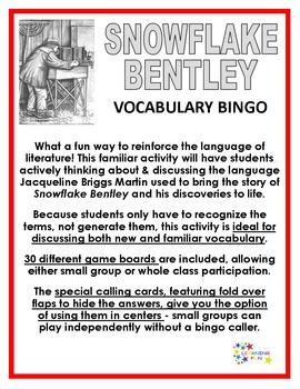 Snowflake Bentley Vocabulary Bingo