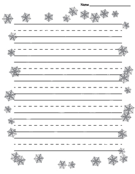 Snowflake Border Lined Paper - Primary