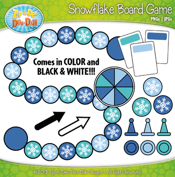 Snowflake Build A Board Game Clip Art Set — Over 20 Colorful Graphics