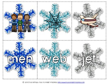Snowflake CVC Words Literacy Center Activity