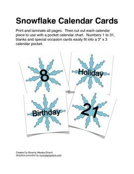 Winter Snowflake Calendar Cards