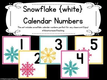 Snowflake Calendar Numbers {White}