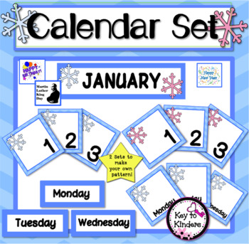 January Calendar Set - Snowflakes FREE