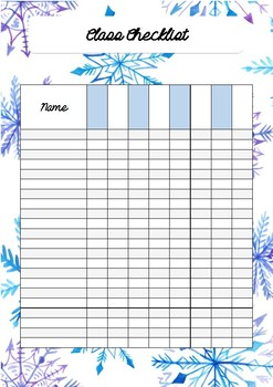 Snowflake Class checklist
