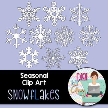 Snowflake Clip Art - 10 different designs