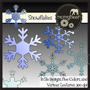 Snowflake Clip Art: Commercial Use Graphics, 108 images included