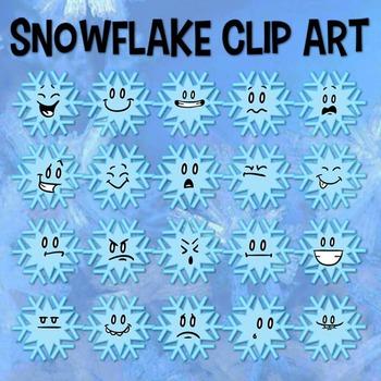 Snowflake Clip Art, Snow Clipart, Winter Clip Art, Snow Emoji, Snow Activity