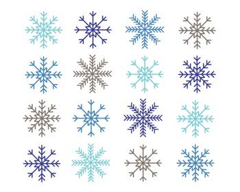 Snowflake Clipart, Digital Design, Snowflake Set #091