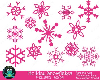 Pink Snowflakes {Upzaz Digital Clipart}