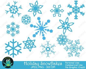 Blue Snowflakes {Upzaz Digital Clipart}