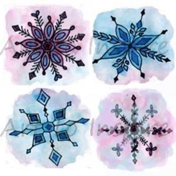 Snowflake Clipart--set of 4 unique--watercolor snowflakes--Winter art projects
