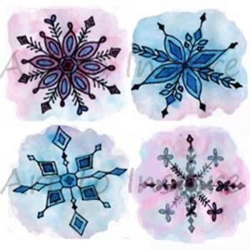 Snowflake Clipart--set of 4 unique--watercolor snowflakes--Winter art projects