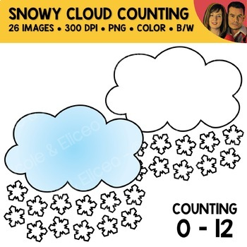 Snowflake Cloud Counting Scene Clipart